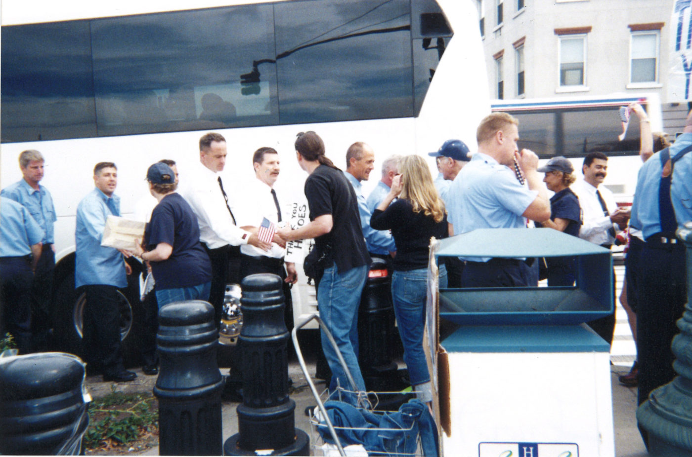 Lenore Mills- Third Anniversary, A Bus of FDNY stops to visit, September 11, 2004