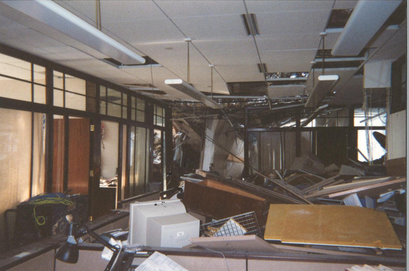 Interior office damage at 200 Vesey Street