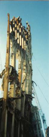 Destroyed Exoskeleton of the Tower at Ground Zero with Crane in the Background