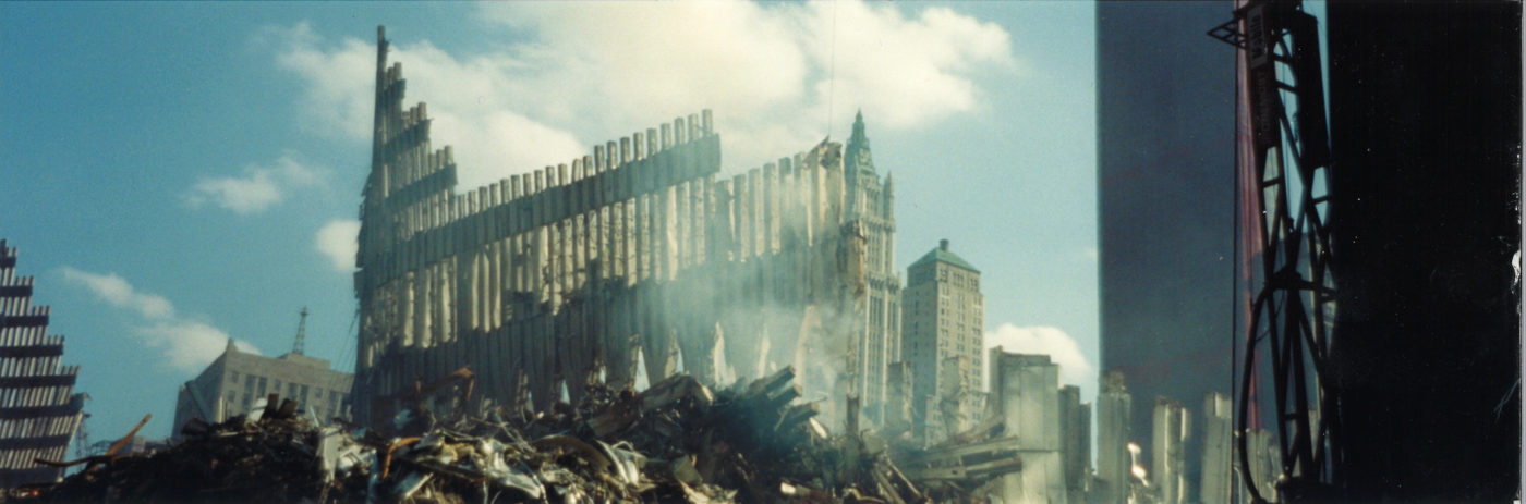 Debris and Destroyed Facade with the Woolworth Building in the Background