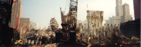 Cranes Lifting Debris with the Woolworth and the Transportation Building in the Background (r.)