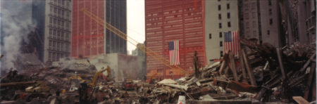 Debris, One Liberty Plaza Sheathed in the Background