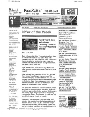 May 13th, 2002 New Yorker of the Week Article- Point Thank You Volunteers