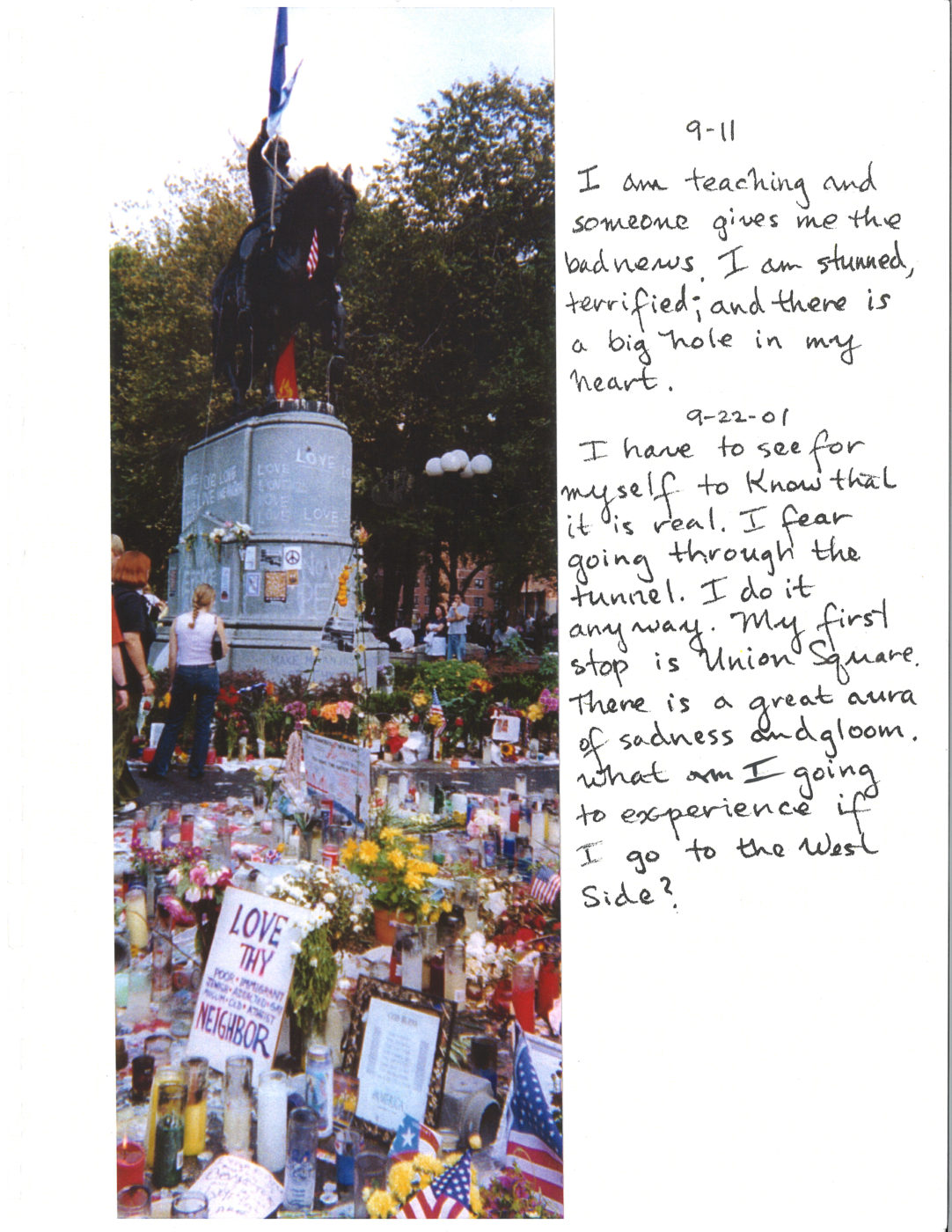 Reflection on 911 with picture of the Washington Square Monument