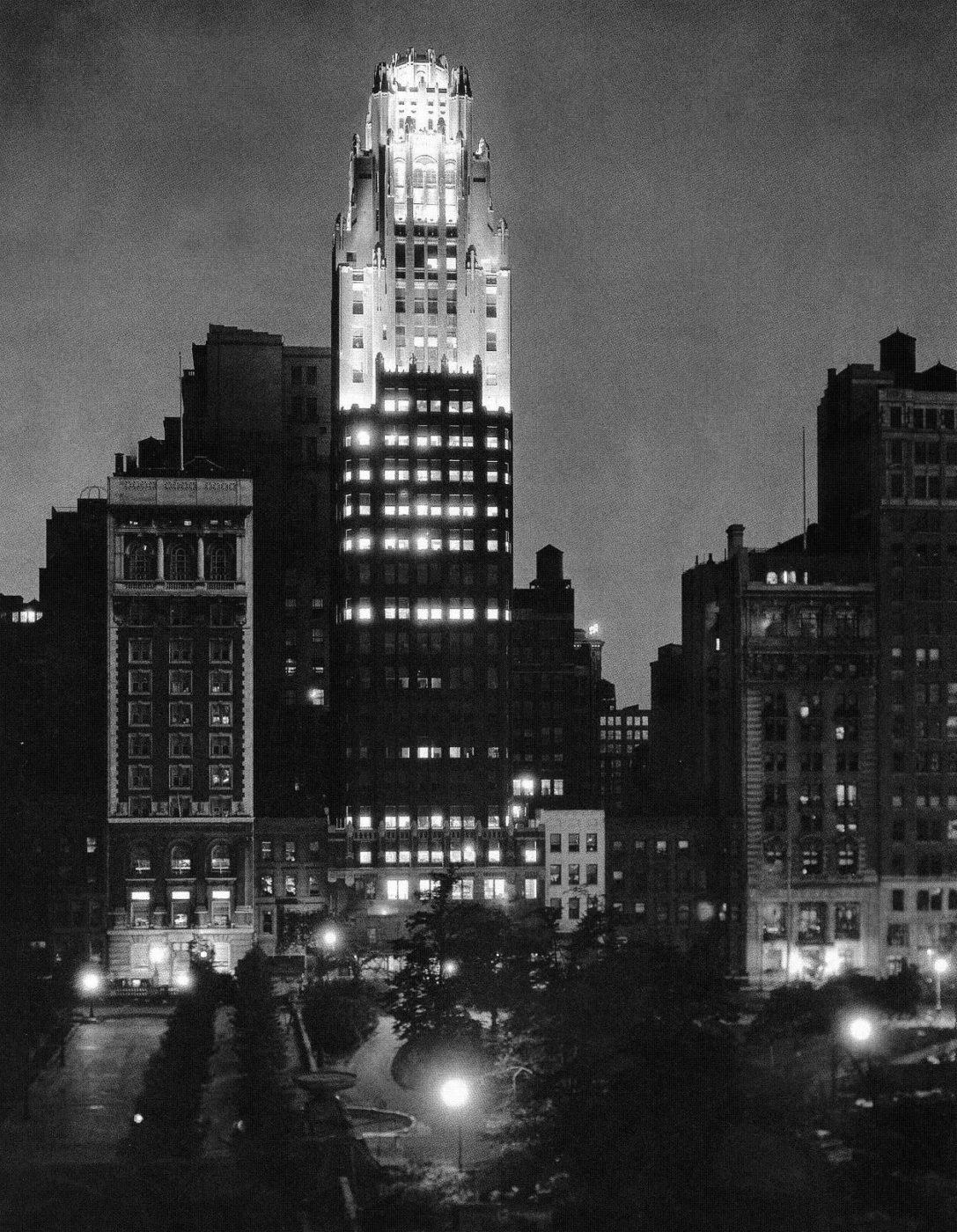 American Radiator Building at night, circa mid 1930s