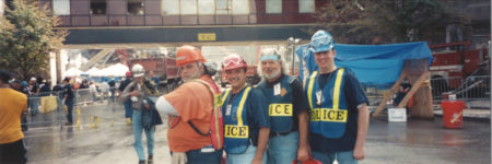 A Contractor and Three Police Officers Take a Photo