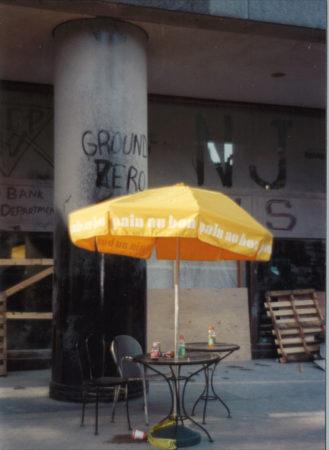 Abandoned Au Bon Pain table at Ground Zero