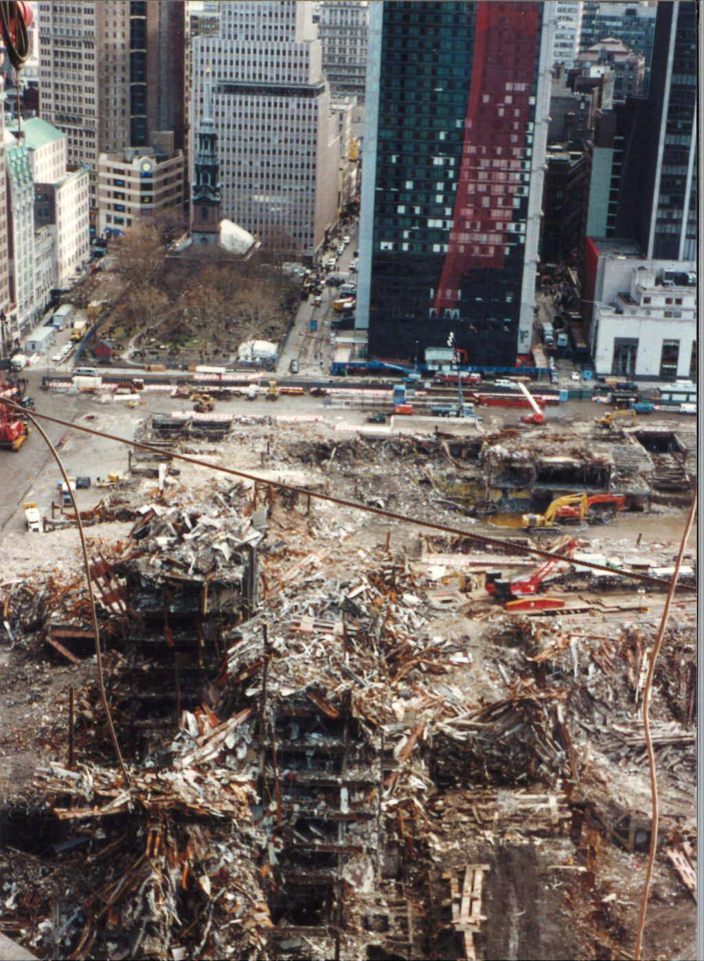 Aerial of Debris and Rubble with a View of St. Pauls