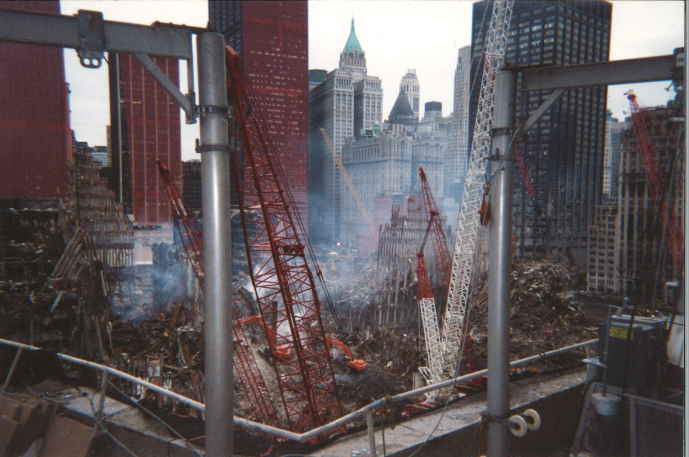 Aerial Shot of Work at Ground Zero with Millenium Hotel, 22 Cortlandt St, One Liberty Plaza, The Equiable and Deutsche Bank Building