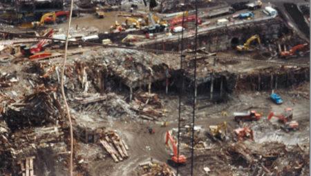 Aerial shot of work at ground zero