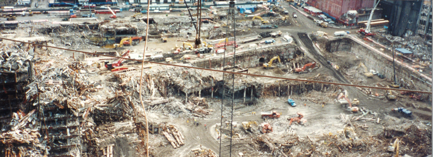 Ariel View of Cranes and Diggers Working at Ground Zero