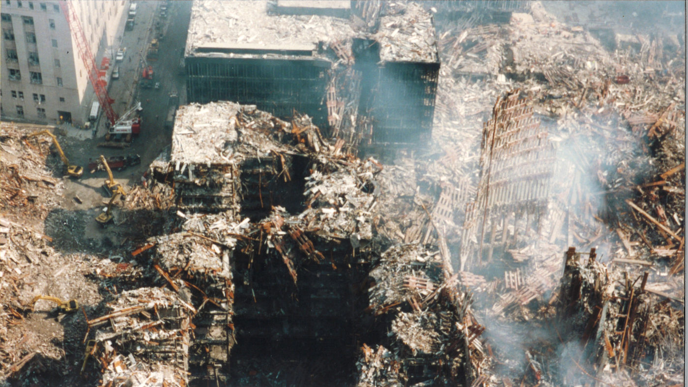 Ariel View of Destruction of WTC 5, 6, and 7