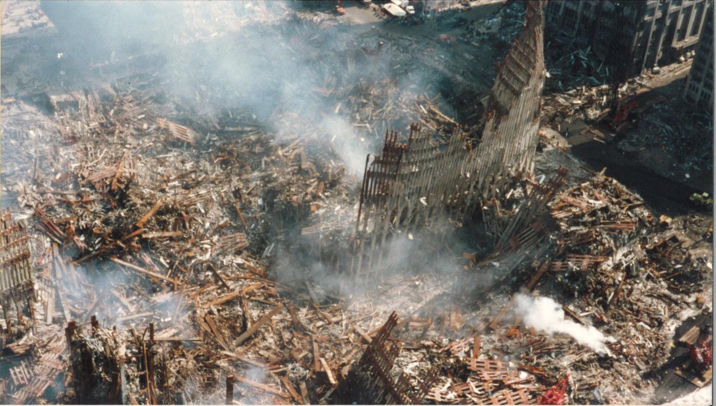 Ariel View of Ground Zero with Smoking Debris