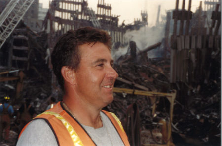 Closeup of an Unknown Worker at Ground Zero In the Evening