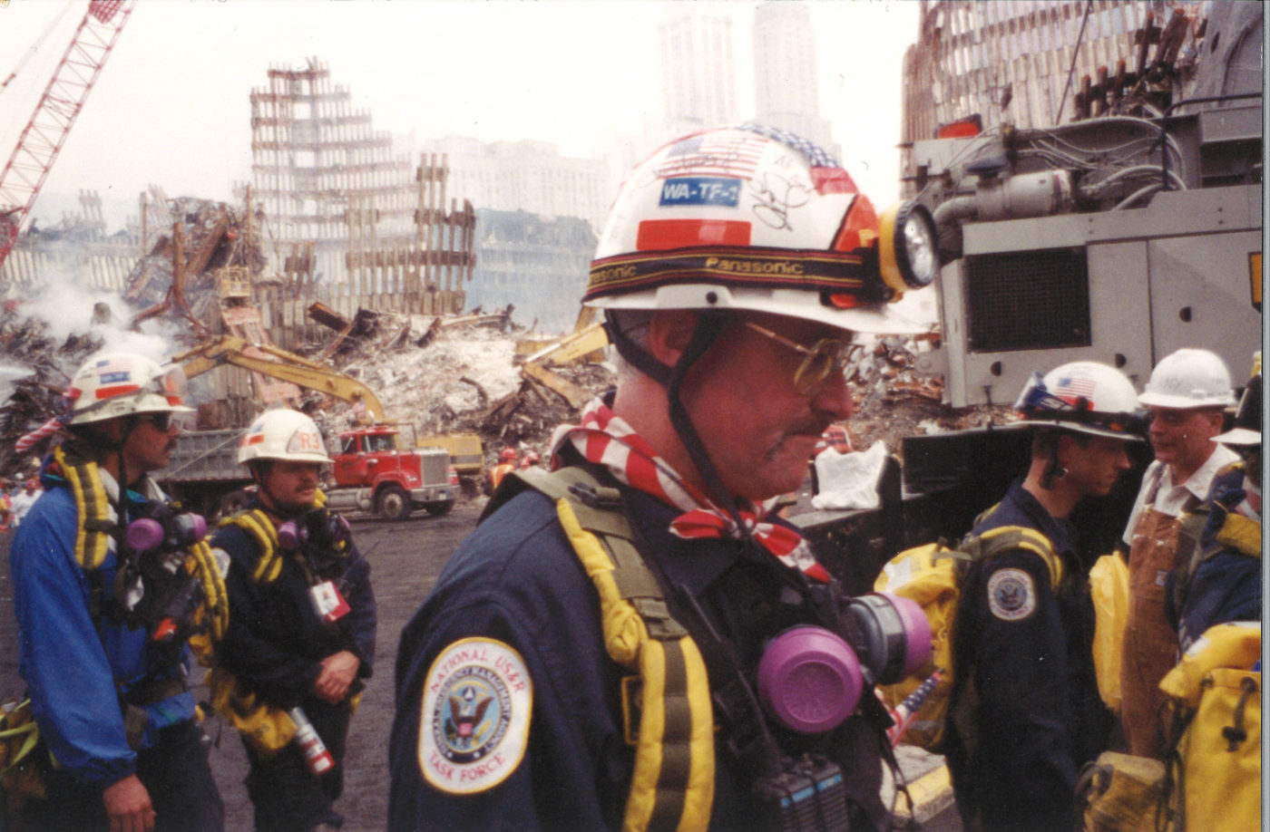 Closeup of National US_R Task Force Workers (FEMA) at Ground Zero