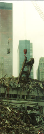 Crane Lifting Piece of Steel from WTC Structure