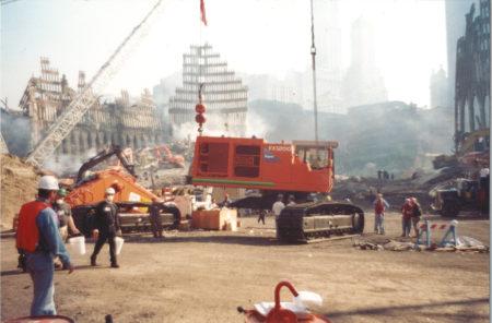 Crane Moving Heavy Machinery at Ground Zero