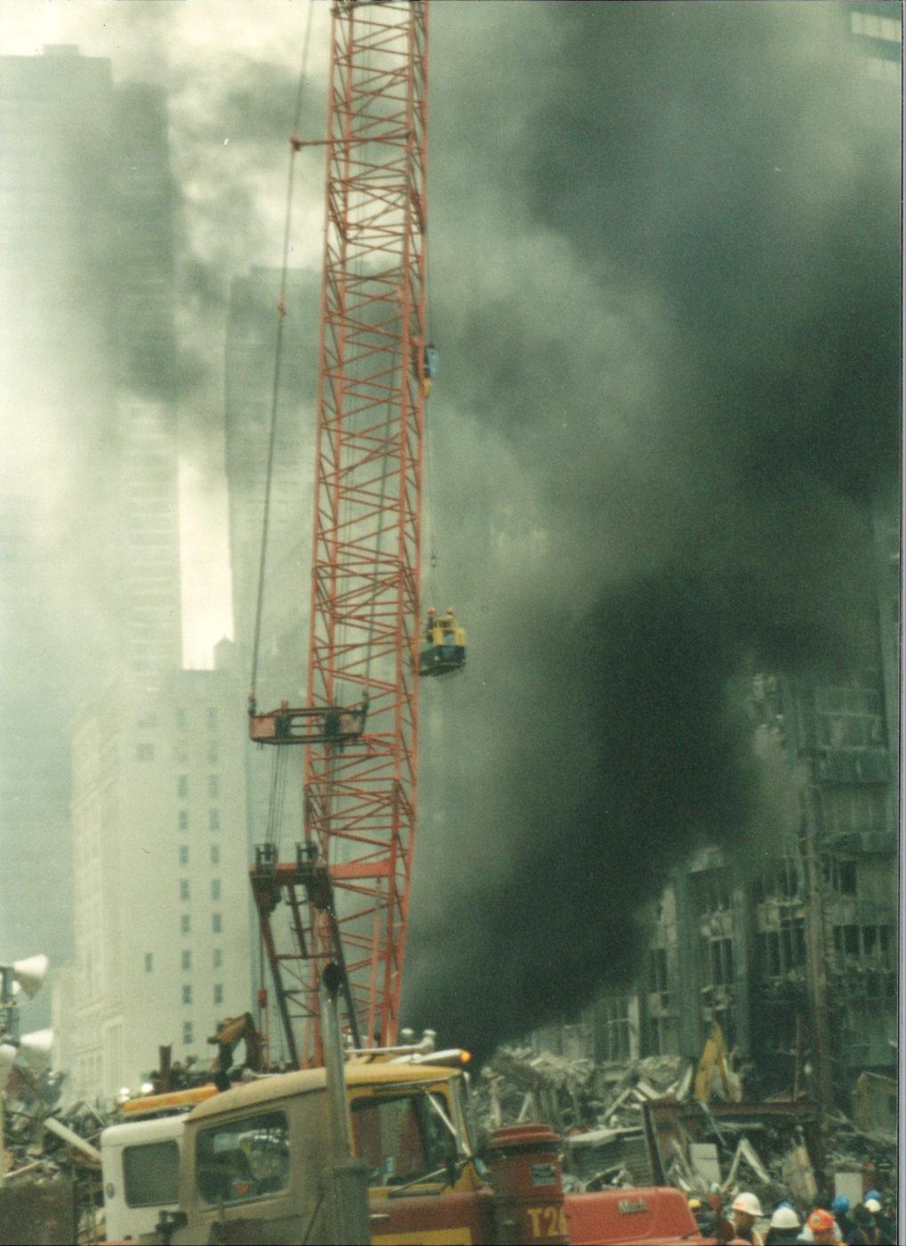 Crane working in the smoke at ground zero