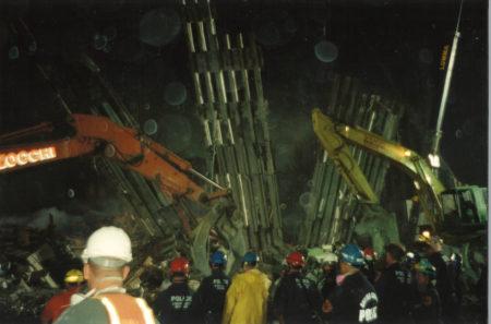 Cranes and Men Working at Night at Ground Zero