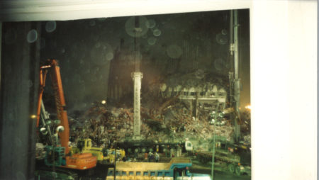 Cranes Moving Debris Night Time at Ground Zero