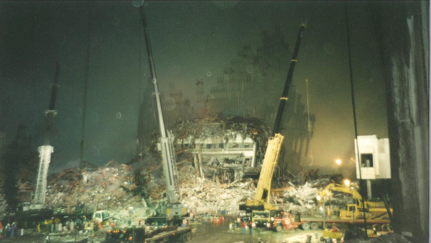 Cranes Working at Night