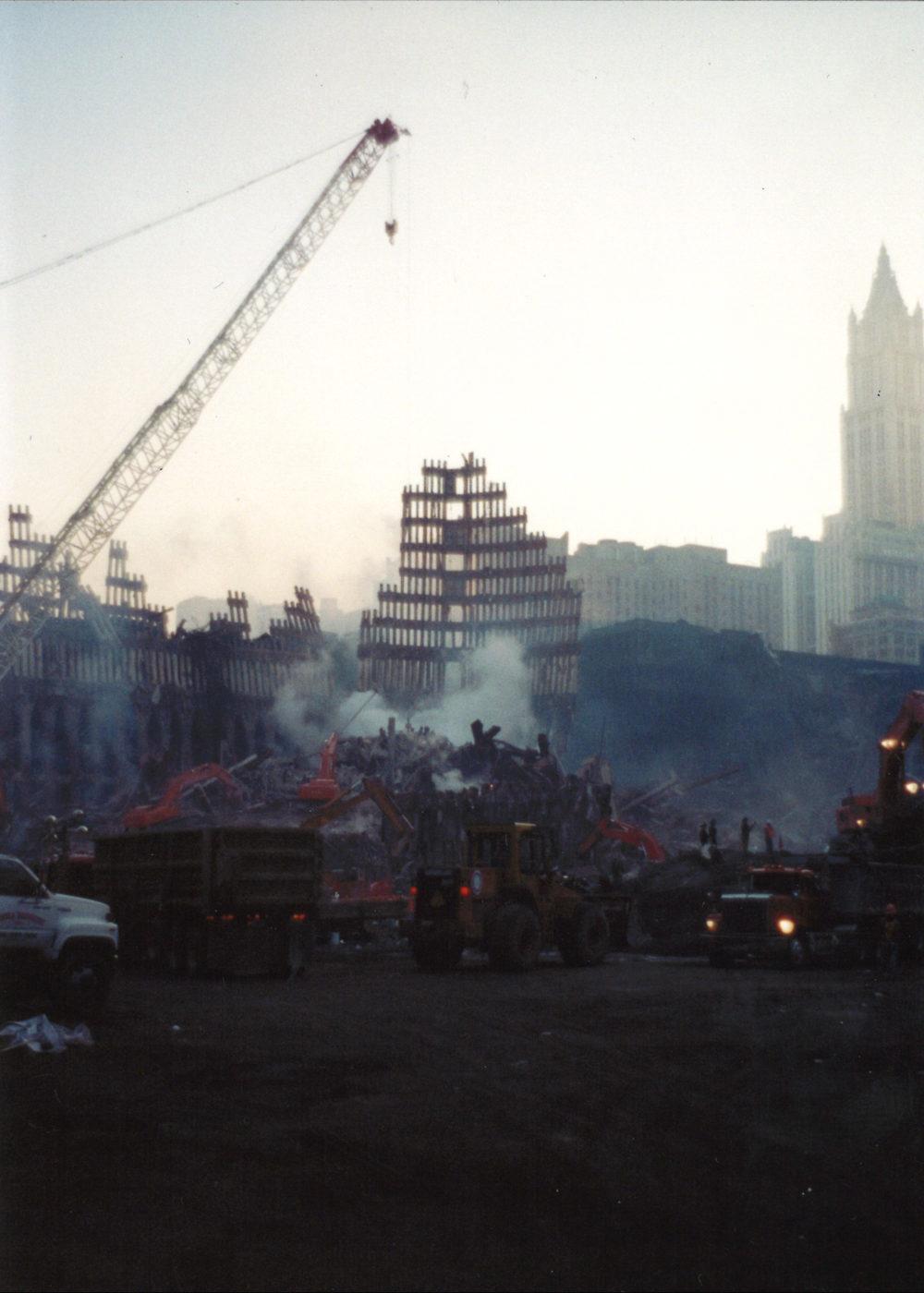 Cranes, diggers, dump trucks working late night