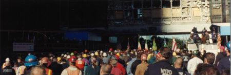 Crowd Listening to Speach at Ground Zero under Overpass