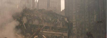 Debris Falling from the WTC Center Surrounded by Smoke