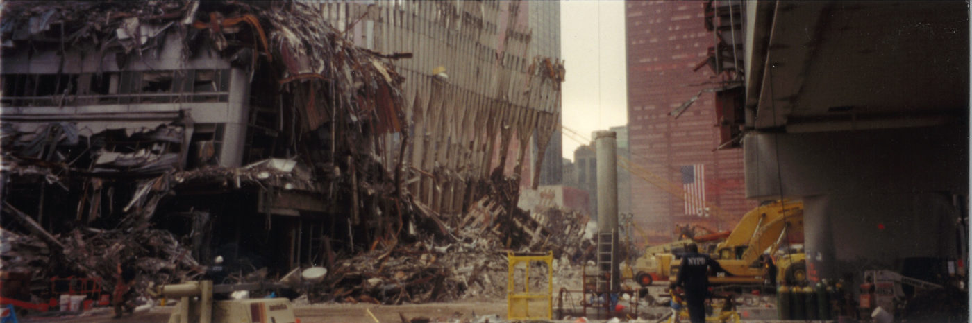 Debris Falling from the WTC taken from Pedestriant Overpass
