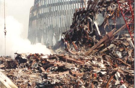 Debris surround bottom of the WTC Exoskeleton