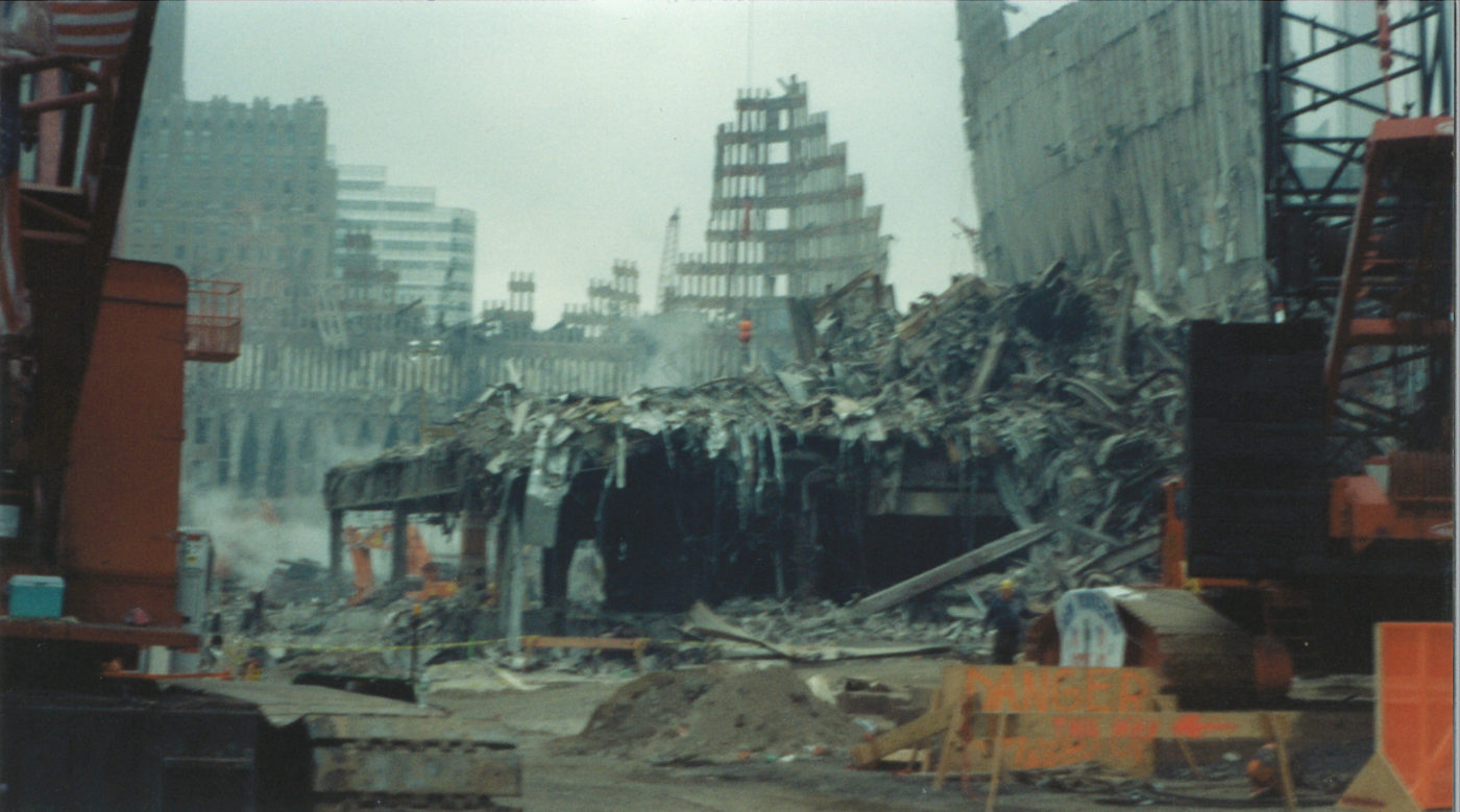 Destroyed Towers with Danger Signs