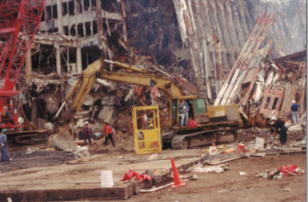 Destroyed Towers with Diggers and Workers at Ground Zero