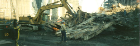 Digger Moving Steel at Ground Zero