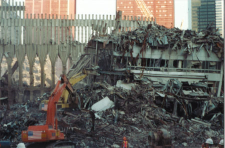 Diggers Pulling Down the Remaining Destroyed Structure at WTC