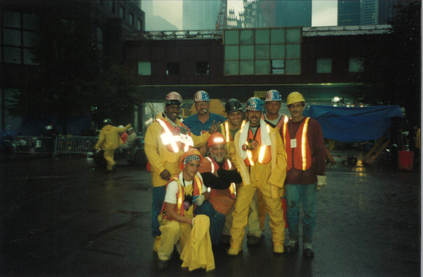 Eight Unknown Workers Pose for Photo