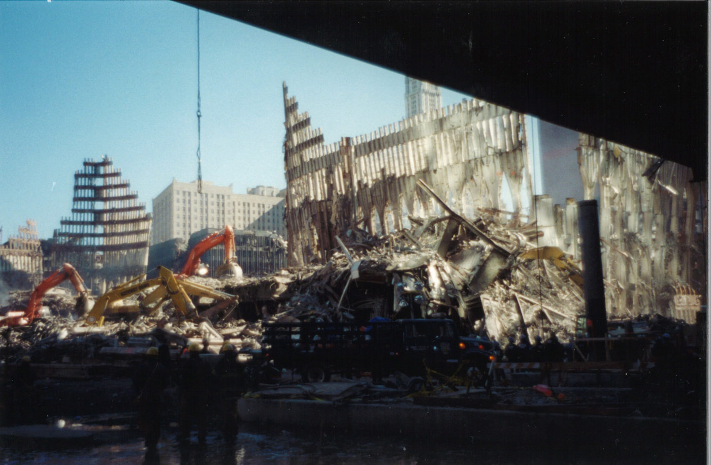 Exoskeleton of WTC 1 and 2 in Debris