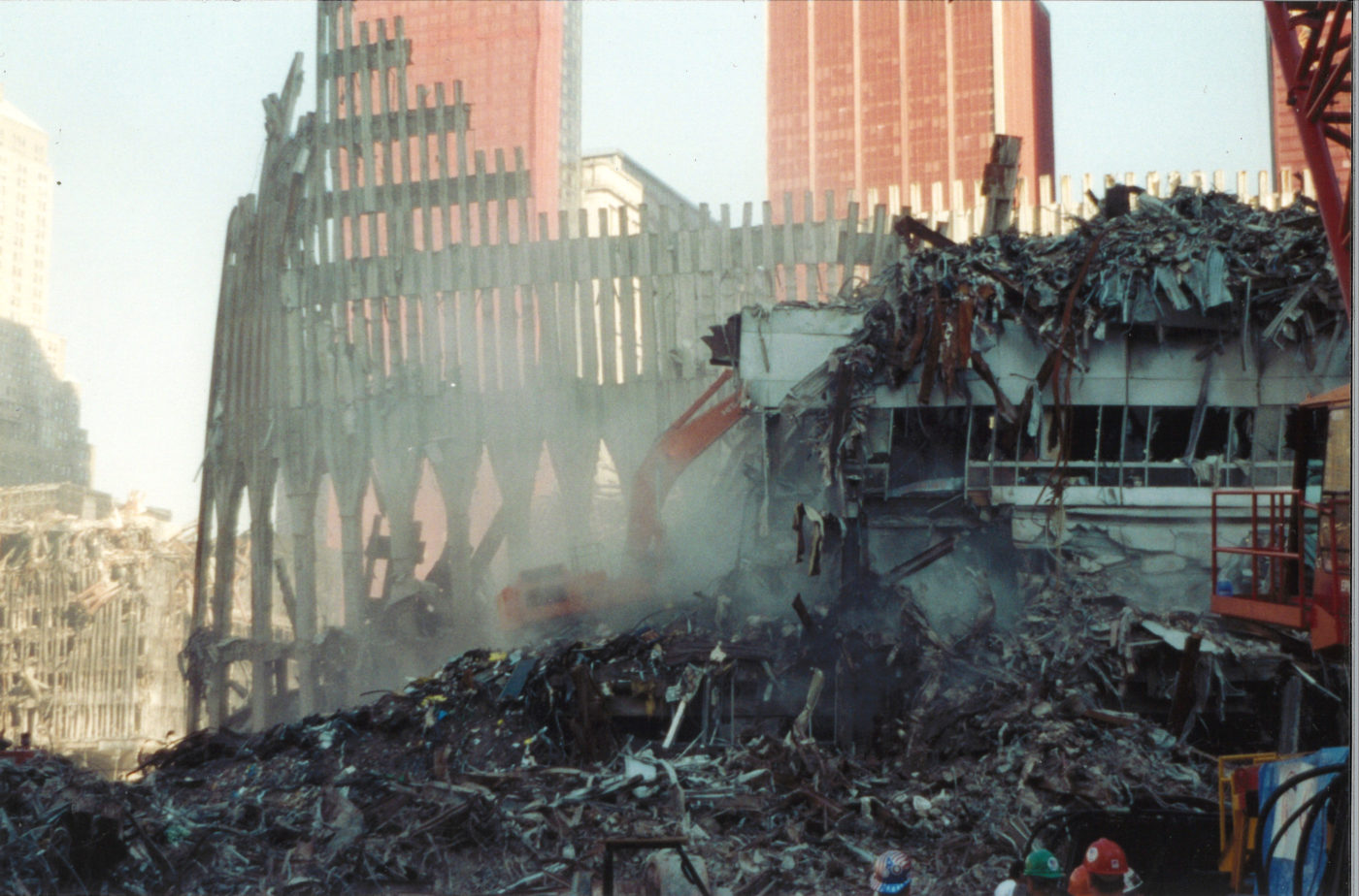 Falling Debris with the the Destroyed Exoskeleton of the WTC in the Back