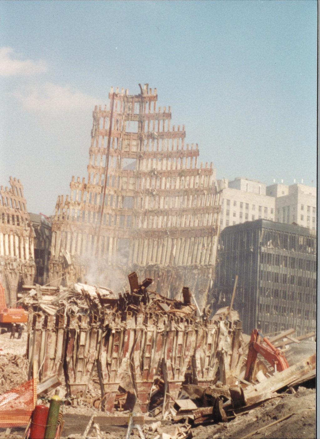 Falling Exoskeleton Surrounded by Debris
