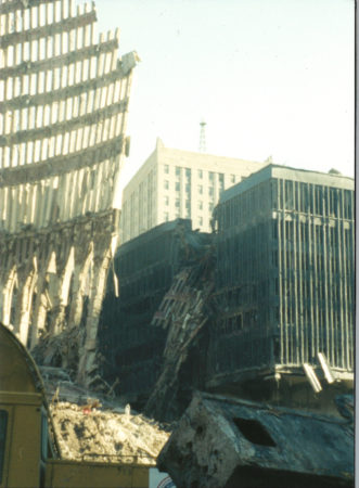 Falling Exoskeleton with 5 World Trade Center Destroyed in the Background