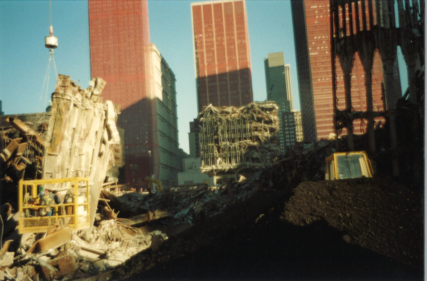 Falling Exoskeleton With Destroyed WTC 5 in the Background
