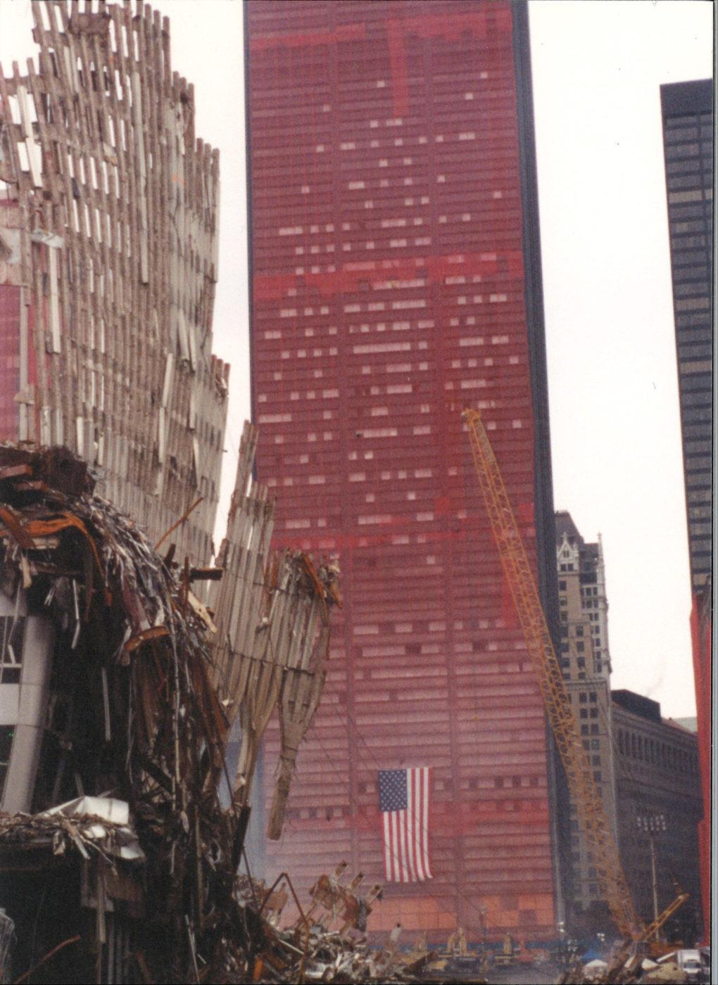 Falling Exoskeleton with Sheathed One Liberty Plaza Behind