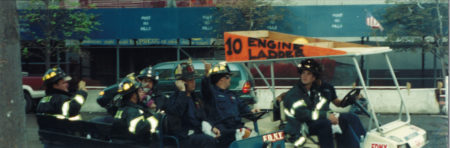 FDNY Fire Fighters From Ladder 10 in a Cart at Ground Zero