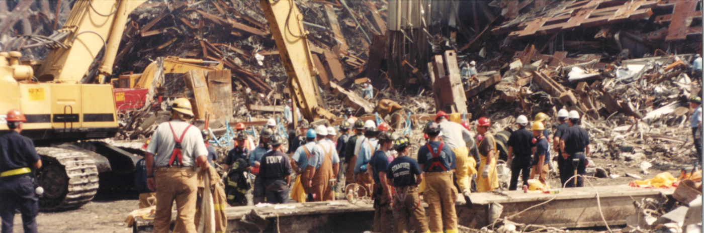 FDNY, NYPD, and Workers on Debris at Ground Zero