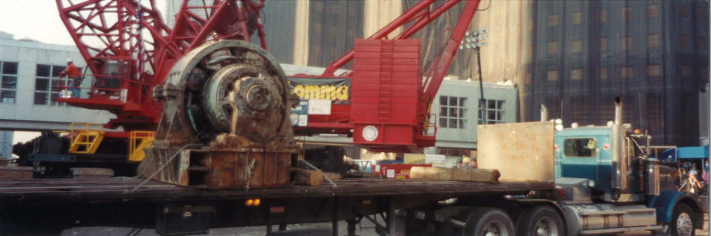Flatbed Carrying a Crane and a Motor to Groound Zero