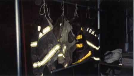 Hanging FDNY jackets at Ground Zero