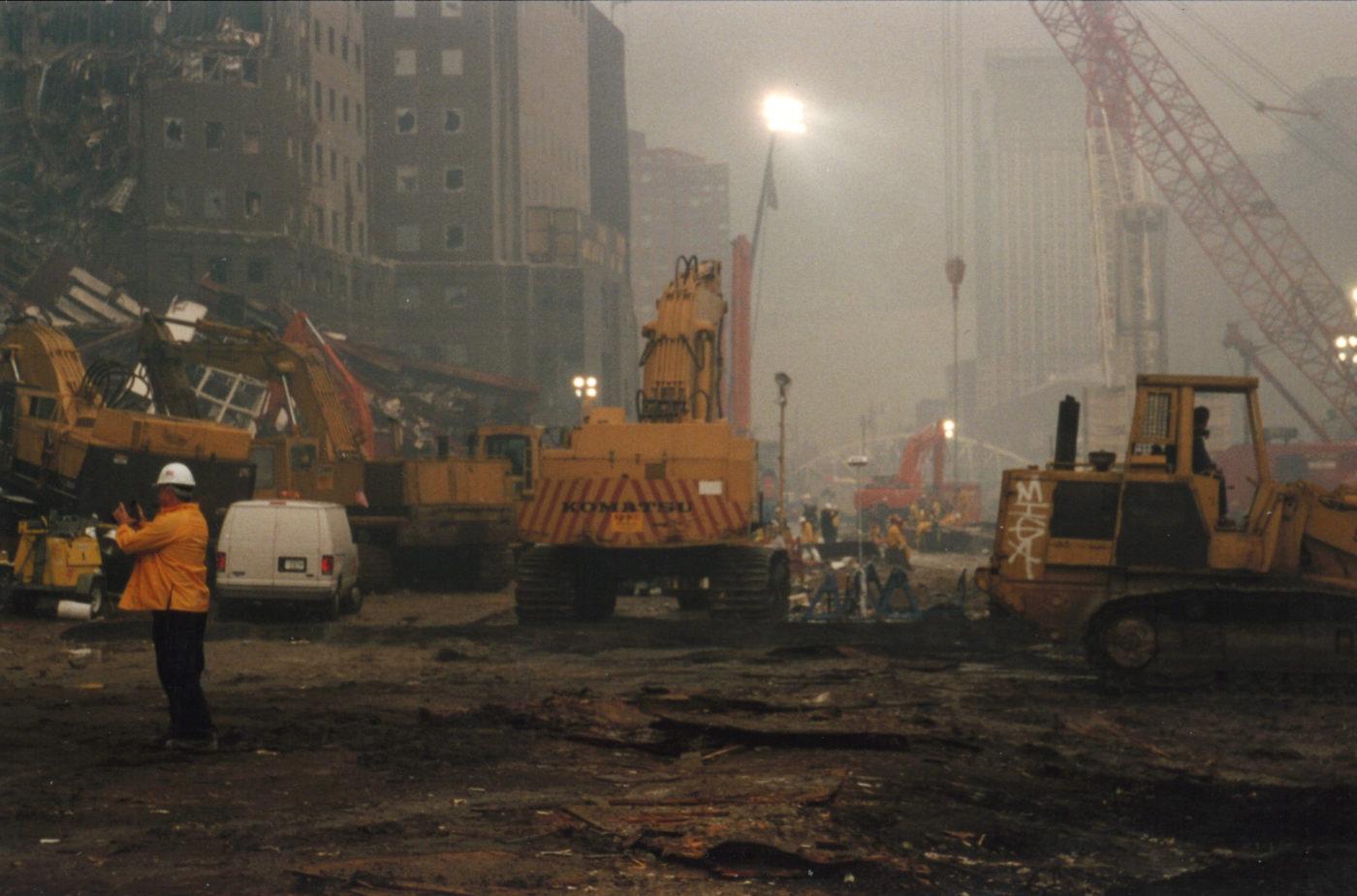 Haze over Ground Zero looking north up West Street