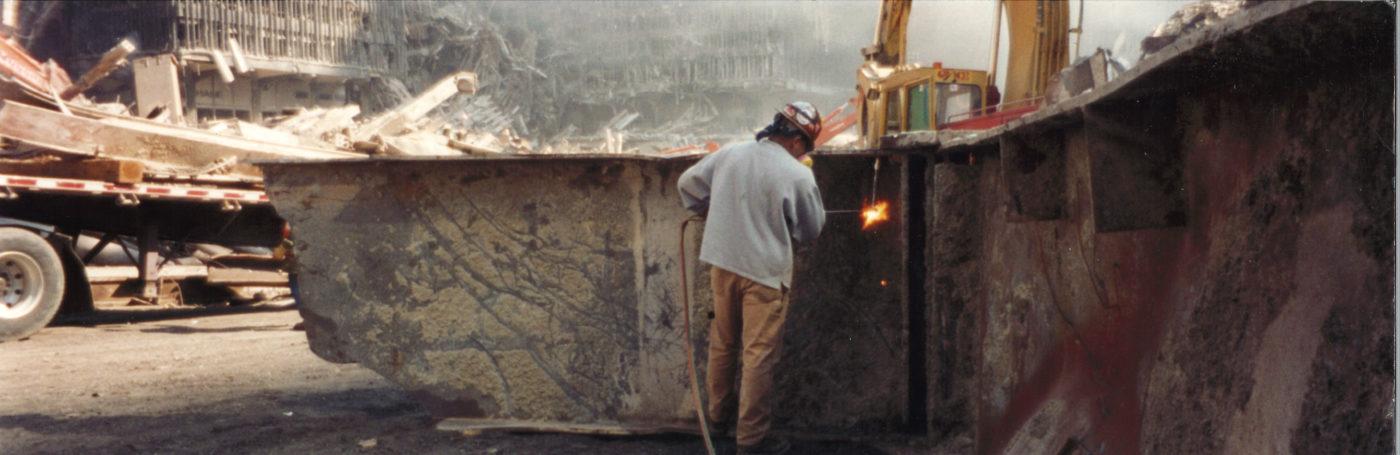 Iron Worker Cutting a Piece of Steel at Ground Zero