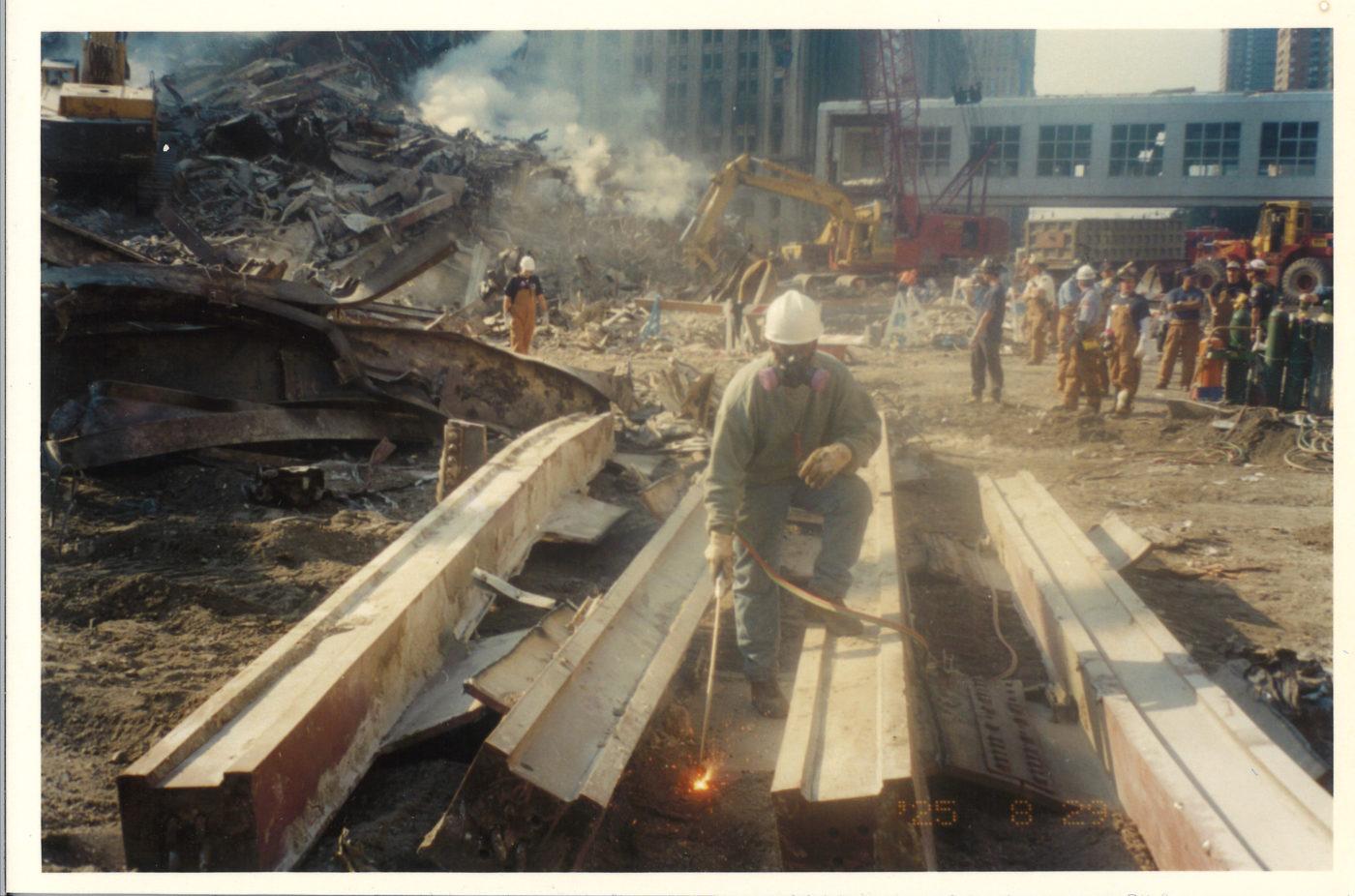 Ironworker working on steel beams