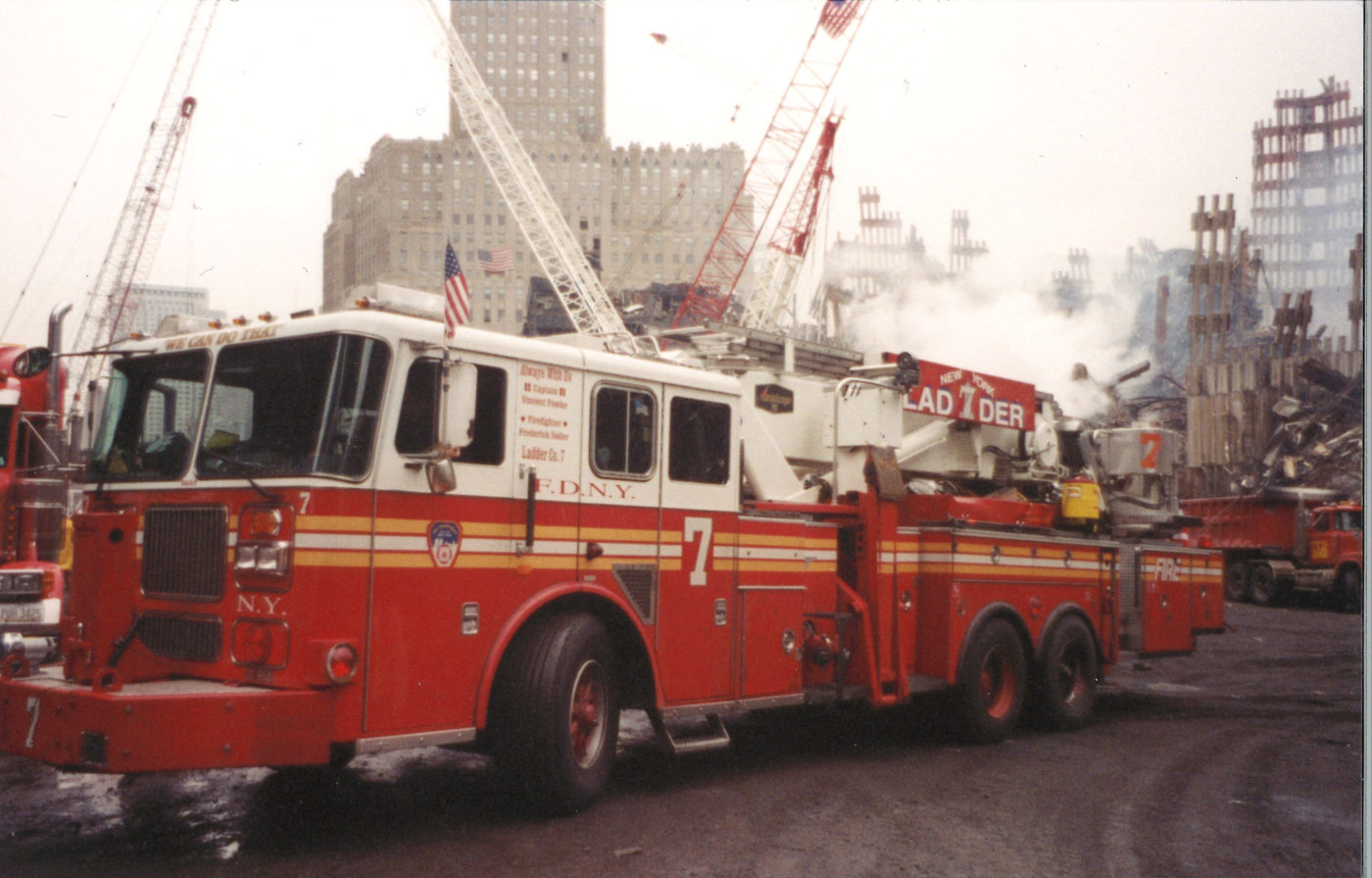 Ladder 7 from East 29th Street on West Street 140 Liberty in background