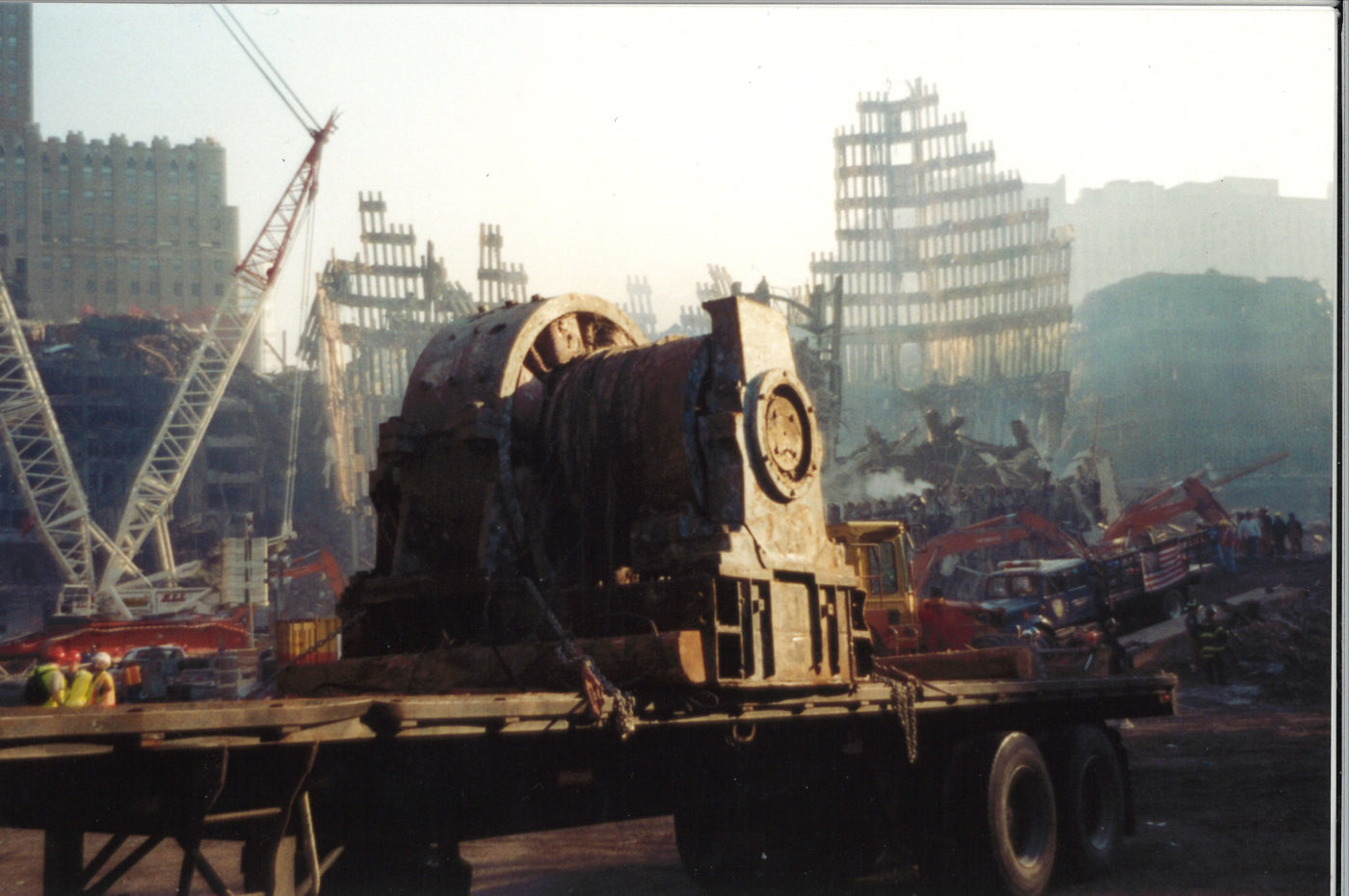 Large Motor on the Back of a Flatbed at Ground Zero